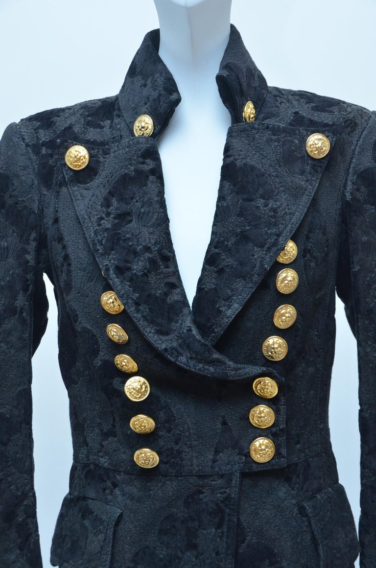 Women's or Men's BALMAIN Black Jacquard Brocade Military Coat 36 FR NEW Retailed  $18,020 For Sale