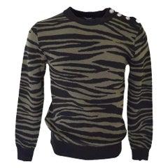 Balmain Black & Khaki Zebra Print Sweater