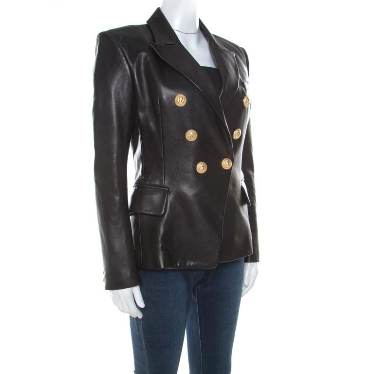 Balmain Black Lamb Leather Gold Button Detail Double Breasted Jacket M In Good Condition For Sale In Dubai, Al Qouz 2