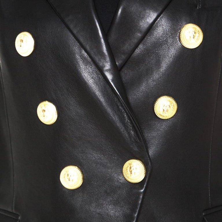 Women's Balmain Black Lamb Leather Gold Button Detail Double Breasted Jacket M For Sale
