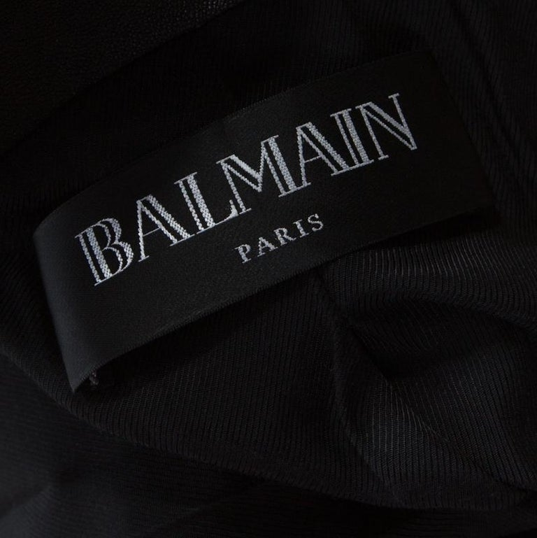 Balmain Black Lamb Leather Gold Button Detail Double Breasted Jacket M For Sale 1