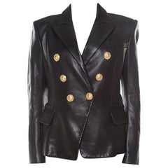 Balmain Black Lamb Leather Gold Button Detail Double Breasted Jacket M
