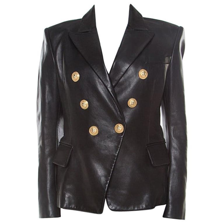 Balmain Black Lamb Leather Gold Button Detail Double Breasted Jacket M For Sale