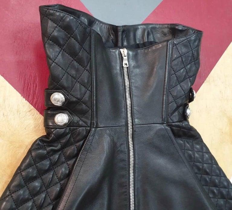 Women's Balmain Black Leather Corset Mini  Dress  For Sale