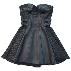 Balmain Black Leather Corset Mini  Dress