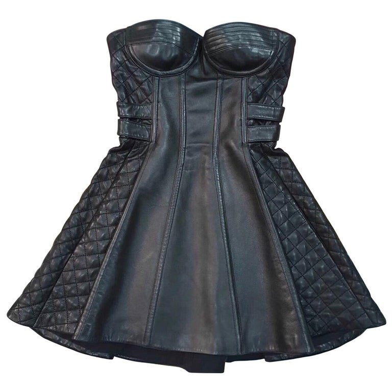 Balmain Black Leather Corset Mini  Dress  For Sale