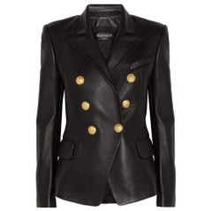 Balmain Black Leather Peaked Lapel Tailored Double Breasted Blazer FR36 US2