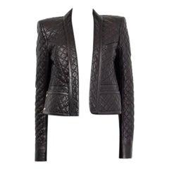 BALMAIN black leather QUILTED OPEN Blazer Jacket 40 M
