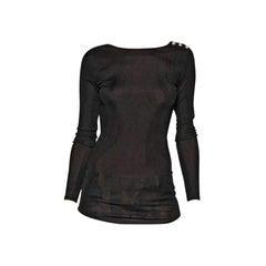 Balmain Black Long Sleeve Open Back Cotton Blend Top