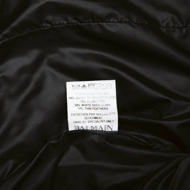 BALMAIN Black Perfecto Down Jacket Size 38FR For Sale 6