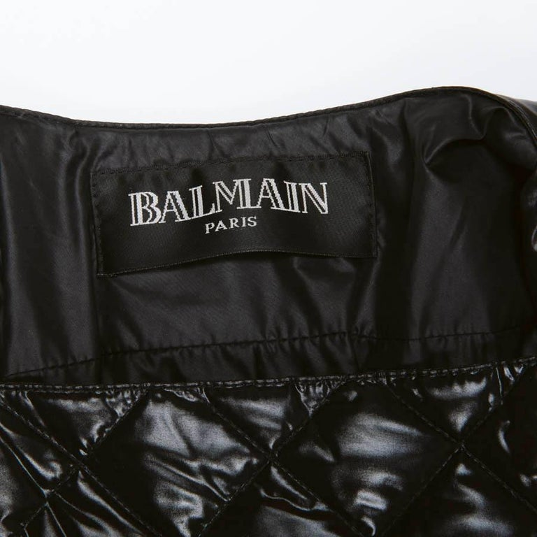 BALMAIN Black Perfecto Down Jacket Size 38FR For Sale 5