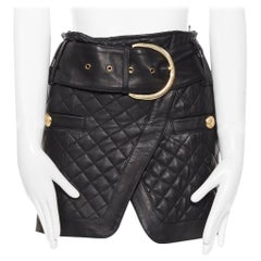 BALMAIN black quilted lamb leather gold large buckle military mini skirt FR34 XS