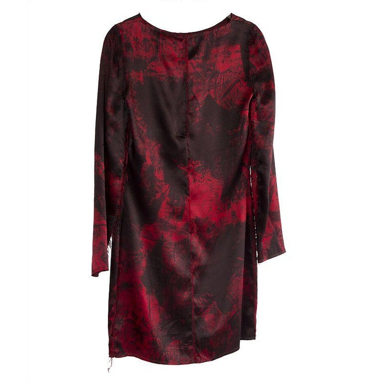 Black BALMAIN black & red silk FRAYED HEM Long Sleeve Cocktail Dress 36 For Sale