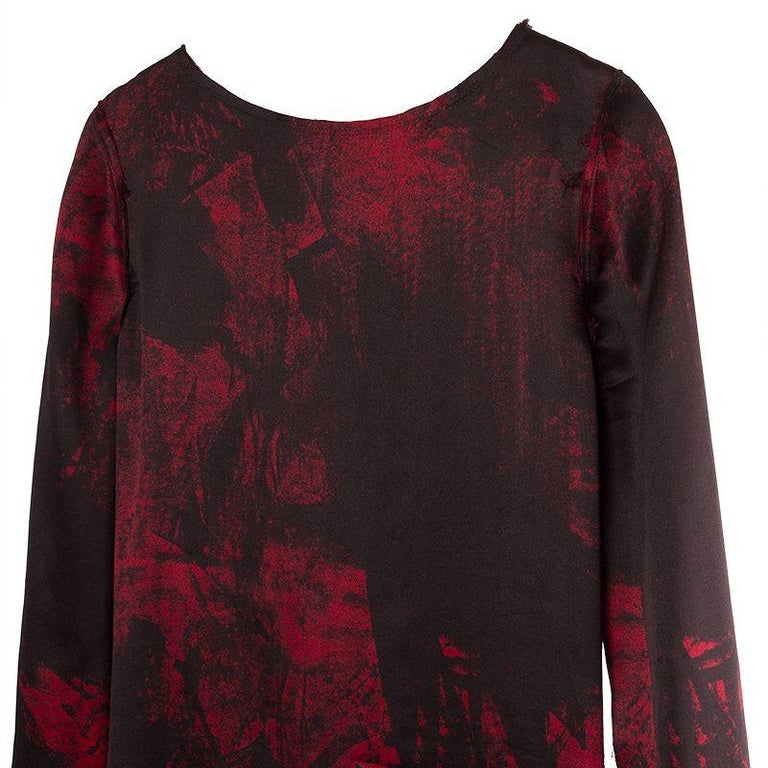 BALMAIN black & red silk FRAYED HEM Long Sleeve Cocktail Dress 36 In Excellent Condition For Sale In Zürich, CH