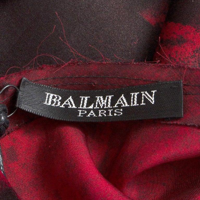 Women's BALMAIN black & red silk FRAYED HEM Long Sleeve Cocktail Dress 36 For Sale