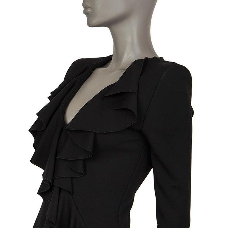 Black BALMAIN black RUFFLED Long Sleeve Cocktail Dress 36 For Sale