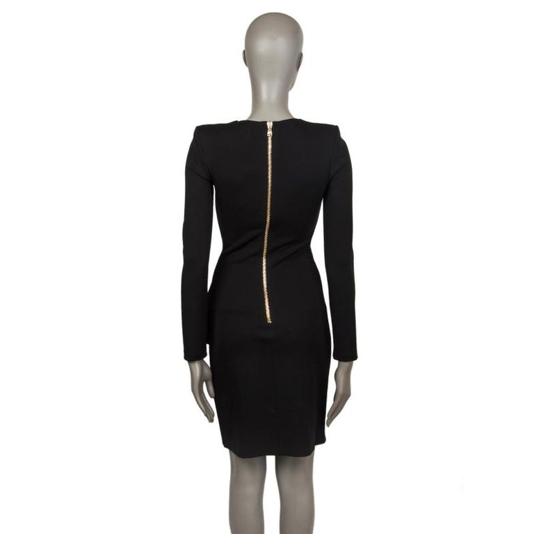 BALMAIN black RUFFLED Long Sleeve Cocktail Dress 36 In Excellent Condition For Sale In Zürich, CH