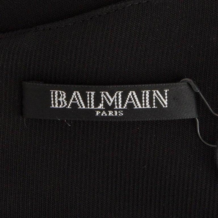 Women's BALMAIN black RUFFLED Long Sleeve Cocktail Dress 36 For Sale