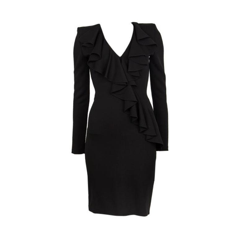 BALMAIN black RUFFLED Long Sleeve Cocktail Dress 36 For Sale