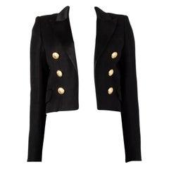 BALMAIN black SATIN TRIMMED CROPPE OPEN Blazer Jacket 38
