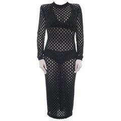 Balmain Black Sheer Stretch Mesh Long Tube Dress