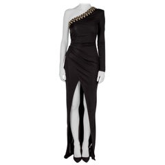 Balmain Black Stretch Knit Crystal Embellished Draped One Shoulder Evening Gown