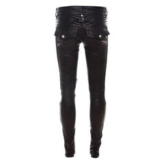 Balmain Black Stretch Leather Quilted Slim Fit Pants S