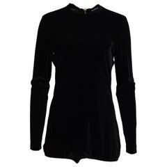 Balmain Black Stretch Velvet Bodysuit W/ Back Zipper NWT Sz 44