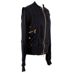 Balmain Black Structured Shoulder Bomber Jacket S 38