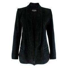 Balmain Black Suede Open Blazer 38 S