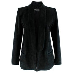 Balmain Black Suede Open Blazer - Size US6