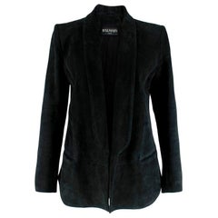 Balmain Black Suede Open Blazer - Size US 6