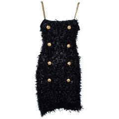 Balmain Black Tweed Mini Dress M