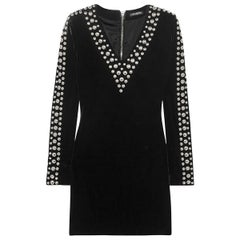Balmain Black Velvet Stretch Mini Dress with Silver Studs - 10