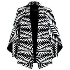 Balmain Black & White Jacquard Cape Coat  36