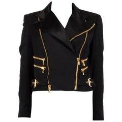 BALMAIN black wool SATIN TRIMMED BIKER Jacket 40