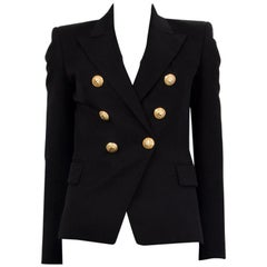 BALMAIN black wool SIGNATURE DOUBLE BREASTED Blazer Jacket 36