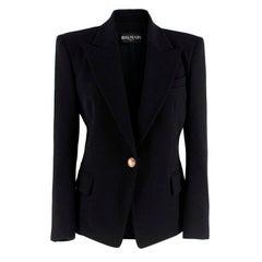 Balmain Black Wool Single Breasted Jacket L