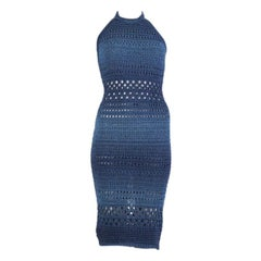 BALMAIN blue cotton 2017 CROCHET HALTER Dress 38