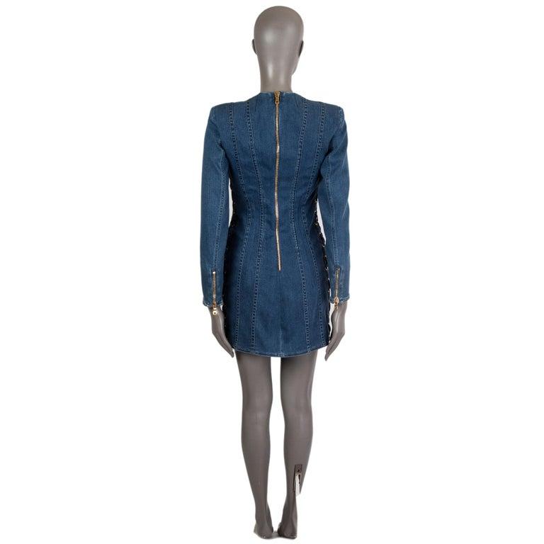 Blue BALMAIN blue cotton denim JEANS LACE-UP MINI Dress 40 For Sale