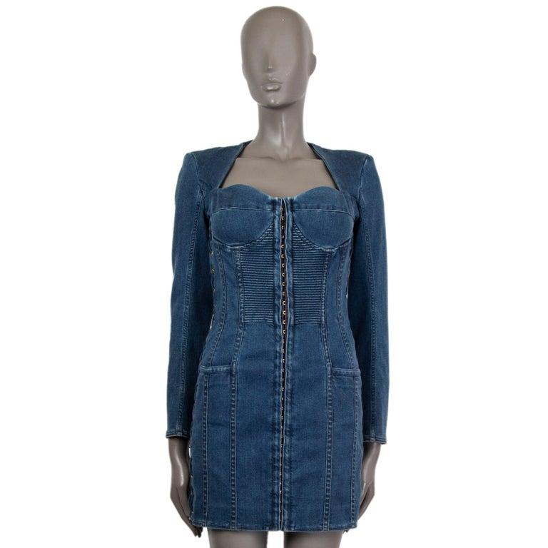 BALMAIN blue cotton denim JEANS LACE-UP MINI Dress 40 In Excellent Condition For Sale In Zürich, CH