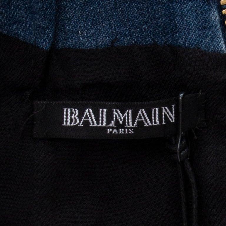 BALMAIN blue cotton denim JEANS LACE-UP MINI Dress 40 For Sale 1