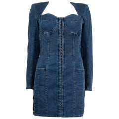 BALMAIN blue cotton denim JEANS LACE-UP MINI Dress 40