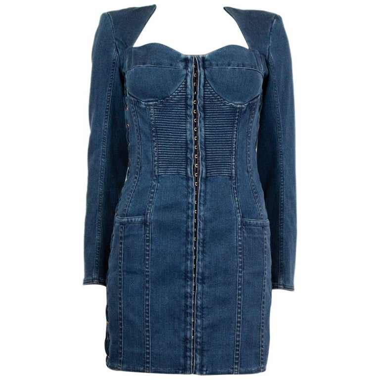 BALMAIN blue cotton denim JEANS LACE-UP MINI Dress 40 For Sale