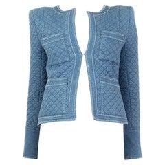 BALMAIN blue cotton QUILTED DENIM JEANS Jacket 36