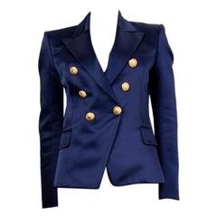 BALMAIN blue SATIN SIGNATURE DOUBLE BREASTED Blazer Jacket 38
