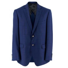 Balmain Blue Single Breasted Slim Fit Wool Blazer SIZE 50