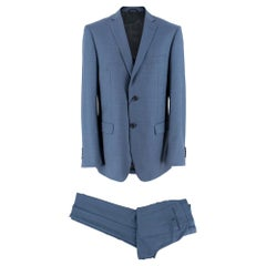 Balmain Blue Single Breasted Wool Two Piece Suit SIZE 50 Regular