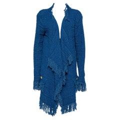 Balmain Blue Textured knit Fringed Open Front Jacket XL