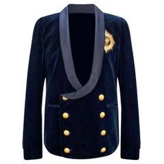 Balmain Blue Velvet Blazer for Men
